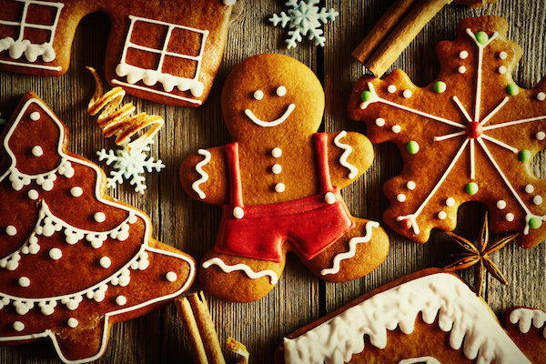 Christmas homemade gingerbread cookies on wooden table