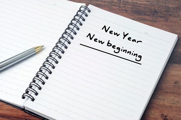 New Year, New beginning on a notepad, vintage style.