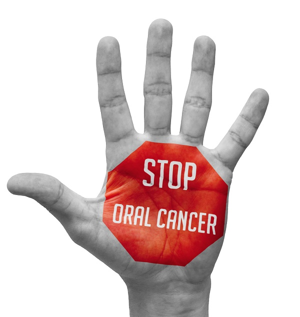 Stop Oral Cancer  Sign Painted - Open Hand Raised, Isolated on White Background.
